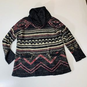 Lucky Brand Turtleneck Aztec Black Red Chunky Larg